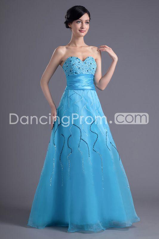 Ball Gown Dresses/Bridesmaid Dresses/Prom Dresses/Evening Dresses A-Line Sweetheart Sleeveless Natural Zipper Floor-Length Organza Beading