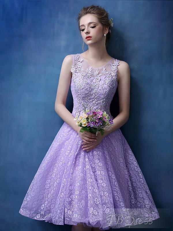 Lavanda púrpura del cordón encantador vestidos de coctel de la rodilla-longitud de los vestidos del partido formal traje de cóctel 2016 vestido de regreso a casa elegante baile de graduación