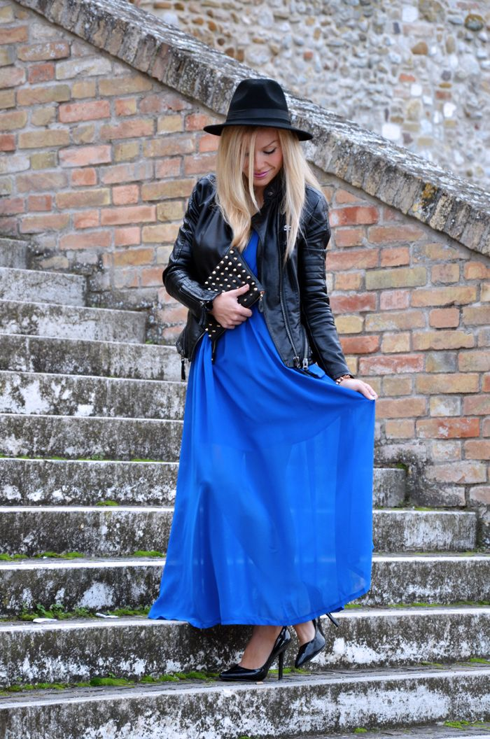 Long electric blue maxi dress, leather jacket and fedora - outfit fall 2013 inspiration fashion blogger It-Girl