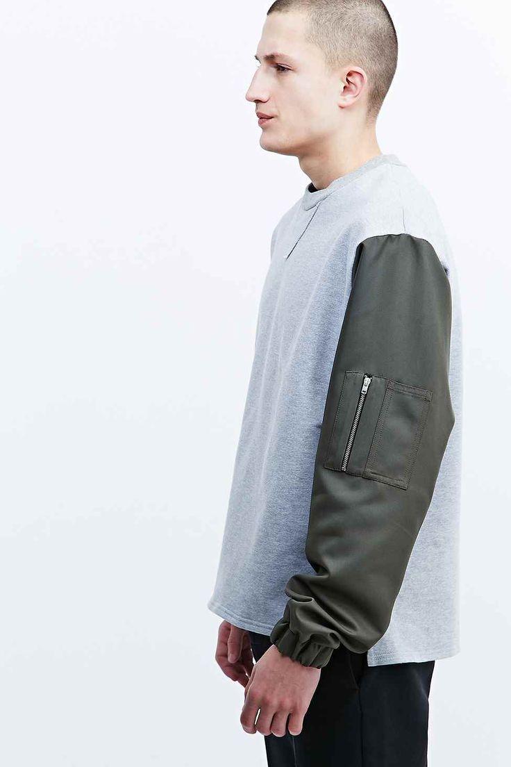 Urban Renewal Deep Eddy's Loopback MA1 Arm Sweatshirt in Grey