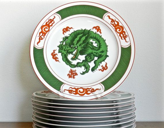 Vintage Dragon Crest Dinner Plates Fitz and Floyd by ModRendition