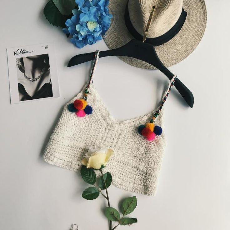 >> Click to Buy << 2017 Crochet Cami Top Women White Pom Pom Trim Halter Summer Tops Boho Bralette New Vintage Beach Casual Short Camisole #Affiliate