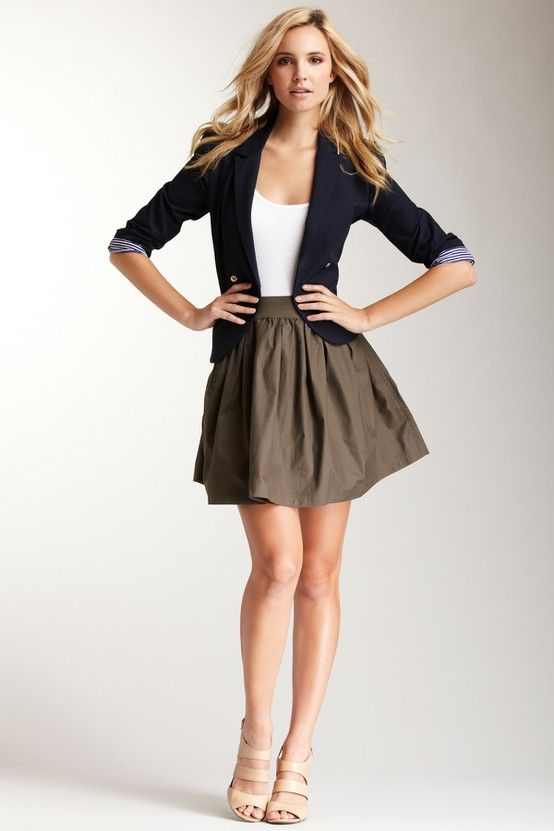 skirt + blazer, work outfit this summer. Skirt too short for my job, but I like the silhouette