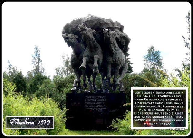 Storm sculpture Joutseno   Myrsky patsas !!!   Myrsky on Reino Puustisen luoma veistos, joka sijaitsee Joutsenon kaupunginkirjaston vieressä. Veistos esittää kolmea myrskypilveä pakoon juoksevaa hevosta, muistona 8.7.1972 Joutsenoa rajusti koetelleesta myrskystä.