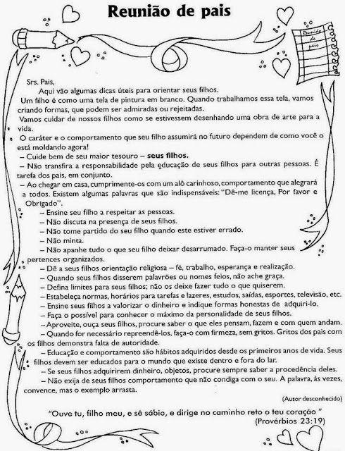 ESPAÇO ALFALETRAR: MENSAGENS PARA REUNIÃO DE PAIS E MESTRES