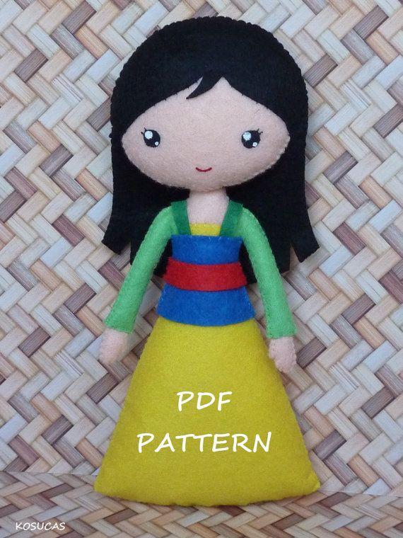 PDF sewing pattern to make felt doll inspired in Mulan. por Kosucas