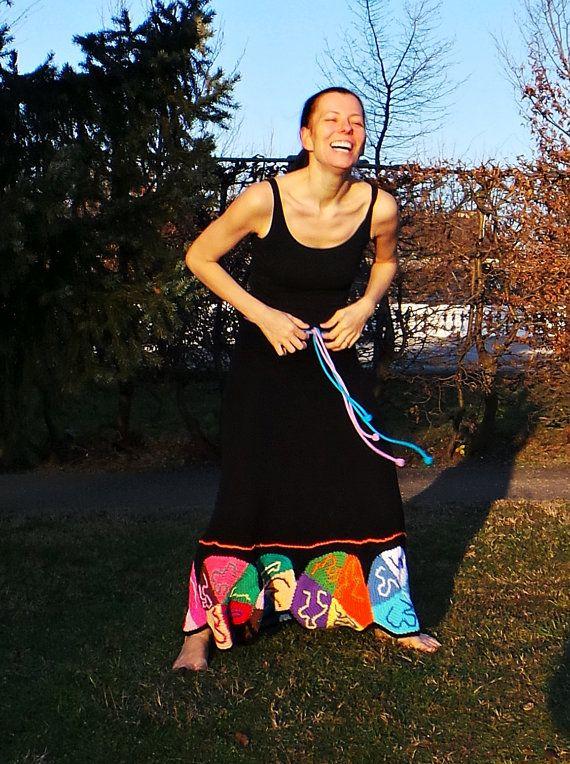 Zwarte maxi rok flowerpower lappendeken moderne nomad door GlamCro