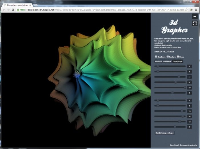 3D Grapher Draws Functions, Parametric Equations and Supershapes in Your Browser