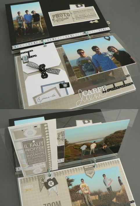 Page en transparent épais sur laquelle sont collés photos et embellissements