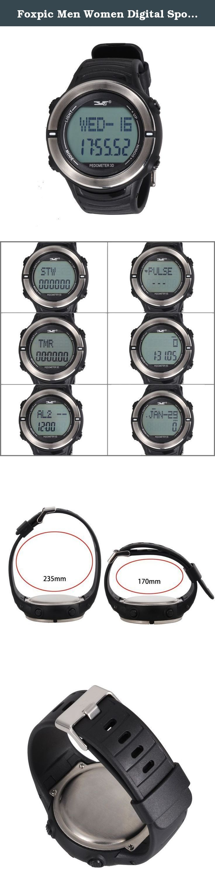 Foxpic Men Women Digital Sports Watch Heart Rate Monitor Multifunction Step Counter Pedometer stopwatch with Calorie Counter Fitness Tracker Running Exercise Timer Black. Specifications: Material: ABS Color: Blak Size: dial diameter 47mm x thick 15mm, strap 28.5cm Weight: 58g Imported 3D sensor, button and the screen is green, strap and the other is black, stainless steel arc detection contacts 1. Time range: January 1, 2000 - December 31, 2099; 12/24 time-system; weeks followed by the…