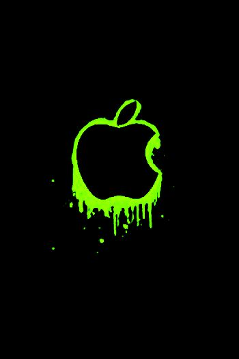 Neon Green Apple Logo iPhone/iPod Touch Background by ...
