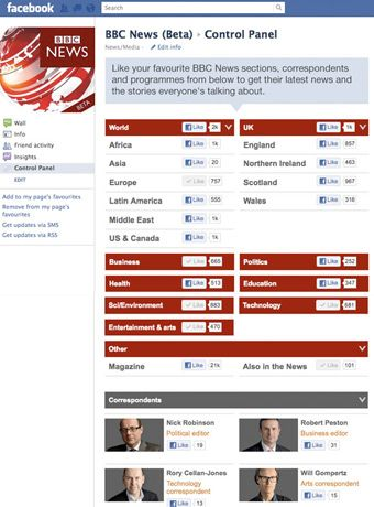 BBC News control panel on its Facebook page to let user personalize their updates from topic, people, program