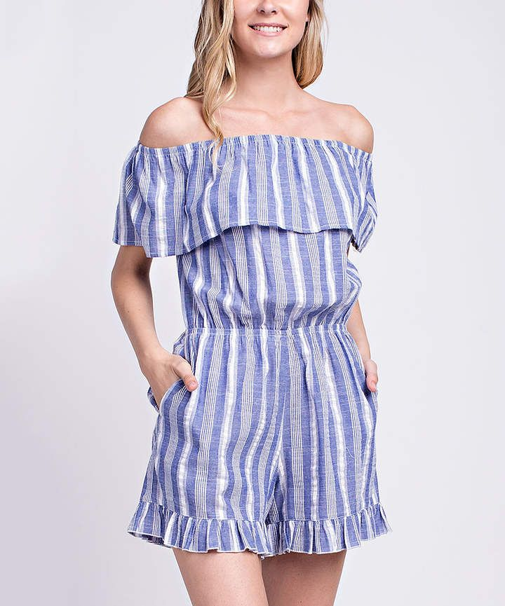 d9a5e34a3 Indigo Stripe Ruffle Off-Shoulder Romper - Women