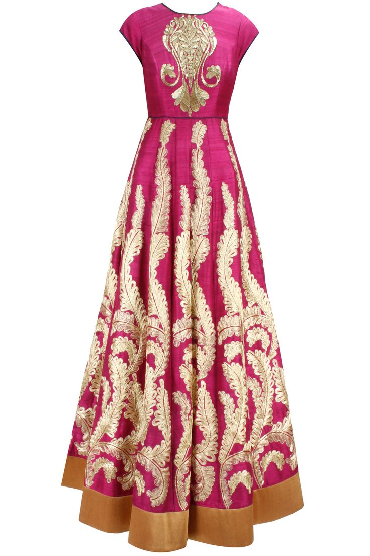 Deep pink gold embroidered anarkali with matching embroidered dupatta available only at Pernia's Pop-Up Shop.
