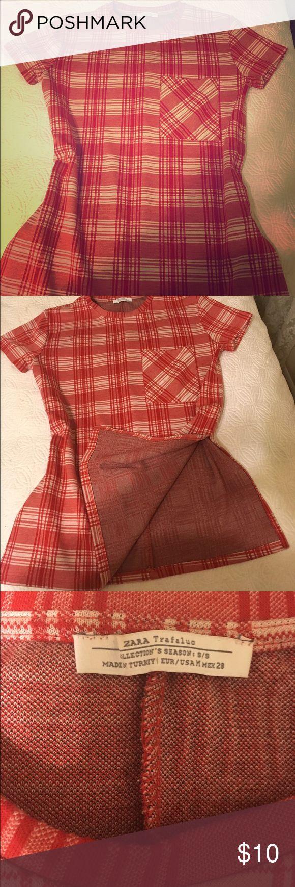Zara plaid tunic Zara red plaid trafaluc tunic . Perfect condition slots on sides as shown Zara Tops