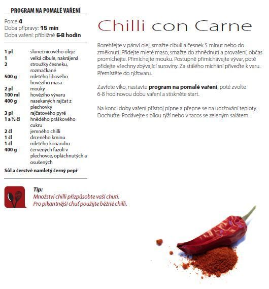 Chilli con Carne recept, Multifunkční hrnec 8v1 RK302