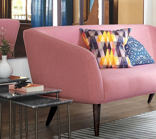 Beautiful Fabric Patten In Pillows Design : Attractive Triangle Also Diamond Patterned Pillow Near Pink Sofa Near Small Table Near Hardwood Floor