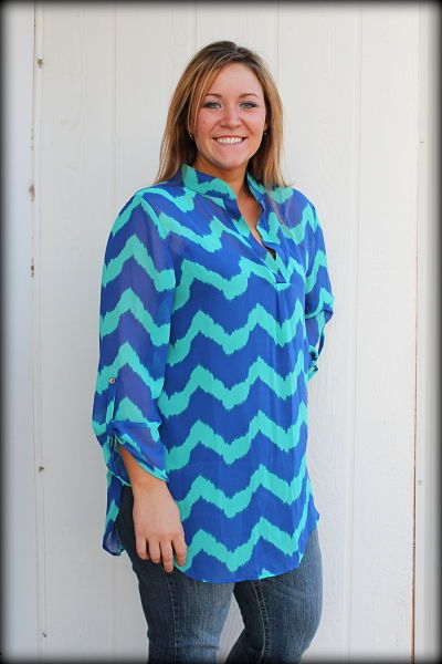 plus size, chevron jade and turquoise blouse, XL 2XL 3XL