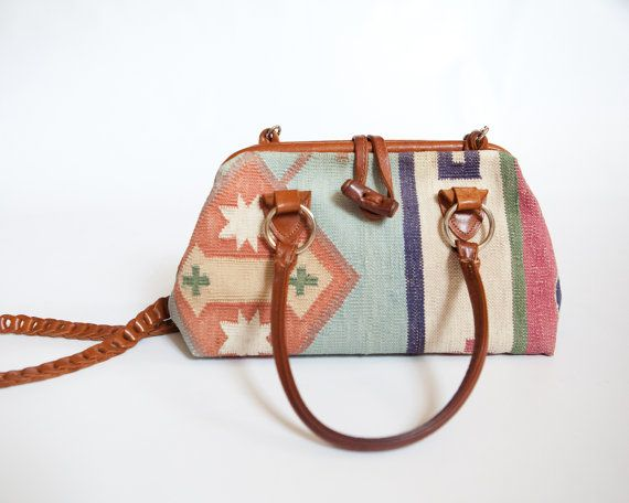 Cotton Kilim Tapestry and Leather Doctor's Bag by lastprizevintage, $54.00
