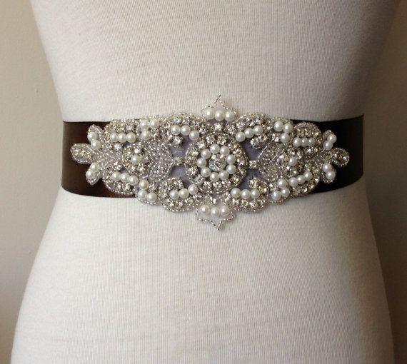 Rhinestone Belt-Brown Sash-Bride Sash-Bridal Sash-Wedding Dress Sash-Bride Pearl Belt-Satin Ribbon Belt-Rhinestone Pearl Applique Sash