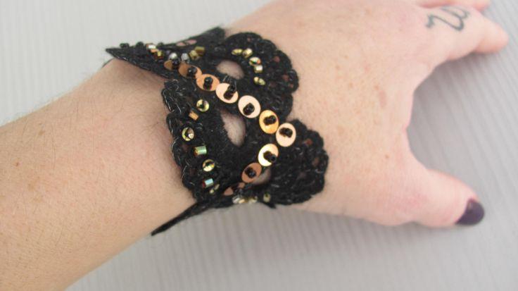 Crochet Bracelet Black Gold Jewelry Womens cuff by CANDYlook4u