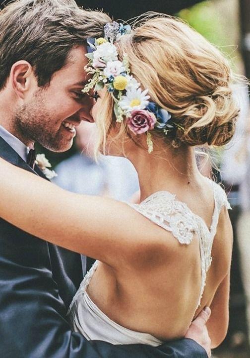 Floral spring wedding crown.