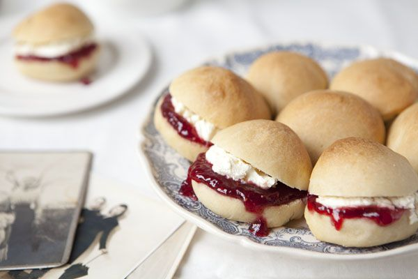 Cornish Splits, buttered, spread with jam and topped with generous dollop of clotted cream