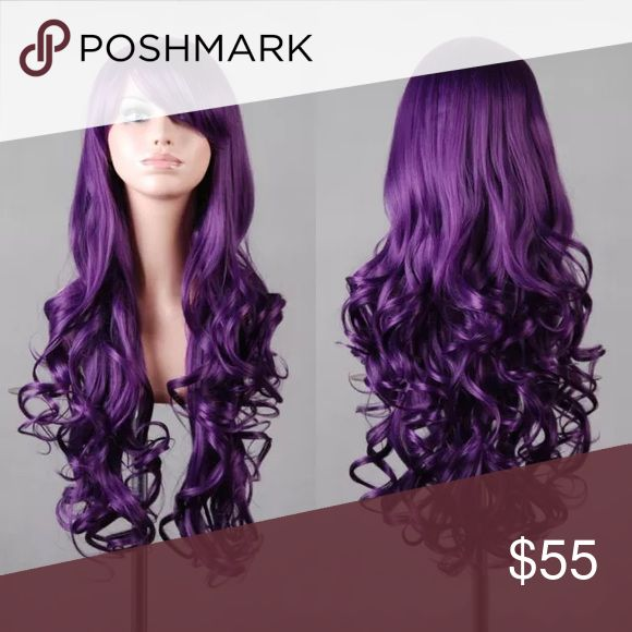 Feb 3, 2020 - 🎀Wavy Wig long Hair🎀 NEW 🎀Wavy Wig long Hair🎀 NEW 🎀PURPLE Length : 80cm / 31.5 Inch Color : As Pictures Hair Material : Synthetic FIBER Volume: Full Head Texture: Curly 1.The high quality ensures comfortable wear and keeps head well aerated. 2.You can use styling products and blow dryers or curling irons to change the style. 3.While the hair is already styled and ready to wear, with this length, you can snip and clip away, tailoring the wig to fit your look or costume. Accessories Hair A
