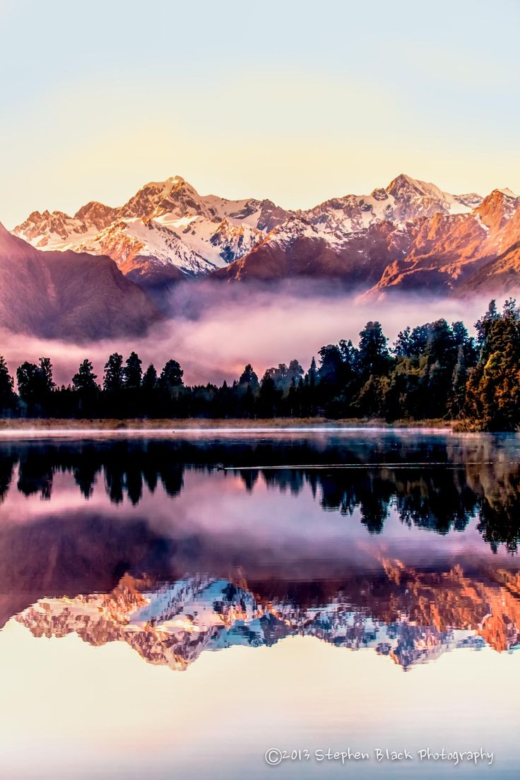 Good Morning Lake Matheson - How I wish I Were Back With You. Just below the Fox Glacier on the west coast of the South Island of New Zealand.