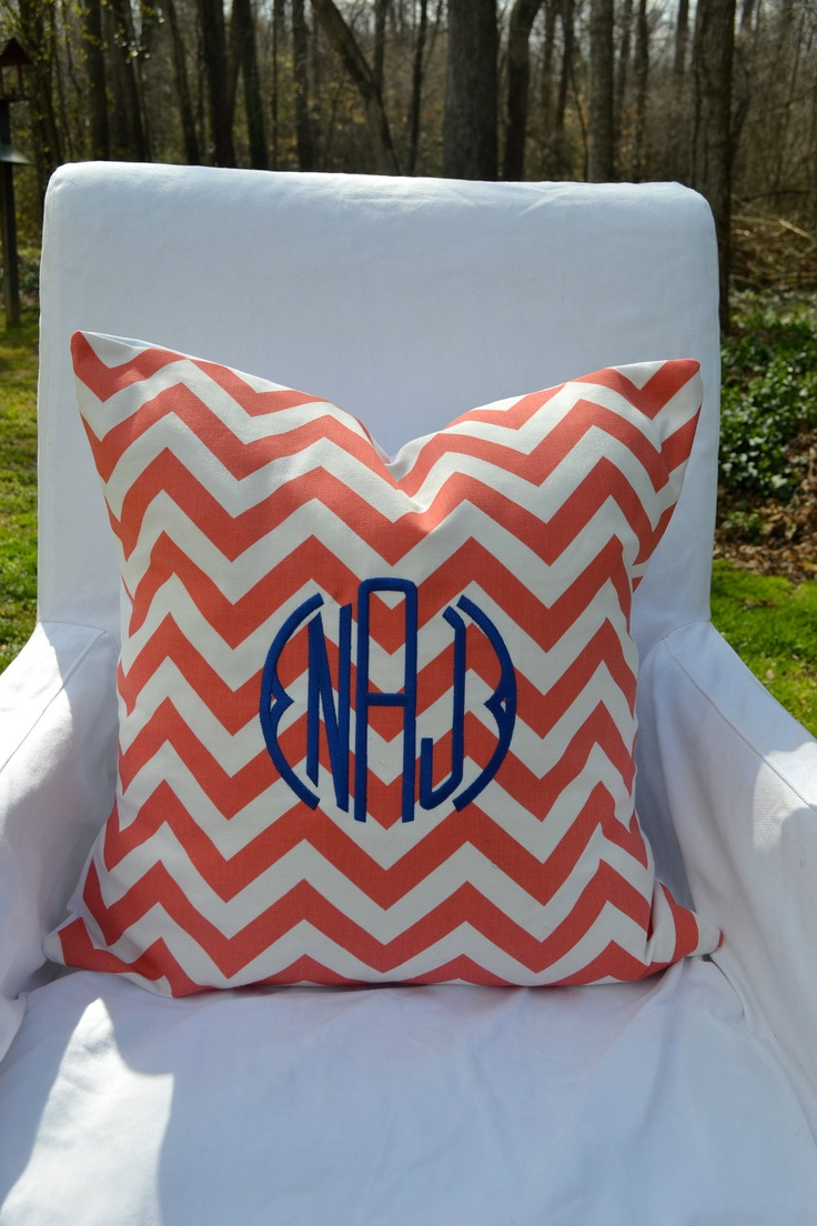 Shop home decor chevron stripes pillow from shop home decor - Monogrammed Coral White Chevron Throw Pillow Cover