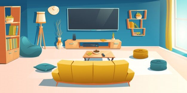 Living Room Interior With Sofa And Tv A Free Vector Freepik Freevector Cartoon Table Home Furniture Living Room Interior Room Interior Room