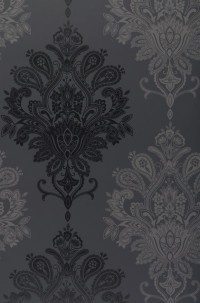 Papier peint baroque noir et gris / Black & grey baroque wallpaper  (www.papierpeintdesannees70