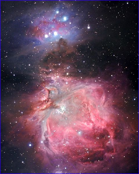 Probably the most famous nebula in the Northern Hemisphere is the Great Nebula in Orion. It is even visible to the unaided eye as a fuzzy patch of light under a very dark sky.