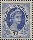 Rhodesia and Nyasaland, 1.7.1954, Queen Elizabeth II. No.2 1P blue. Stamped 2,70 USD, Mint Condition 2,70 USD.