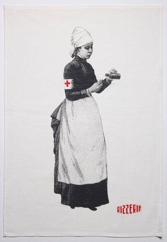 Victorian nurse with medicine bottle teatowel  vintage by Rizzeria, $18.00