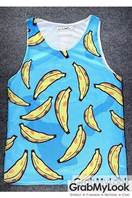 GrabMyLook Blue Cartoon Yellow Banana Net Sleeveless Mens T shirt Vest Sports Tank Top