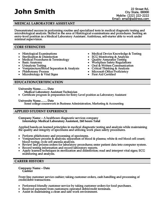 medical laboratory assistant resume template