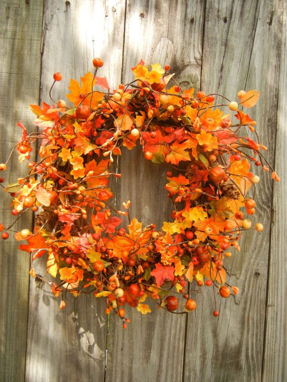 Fall Wreath  Autumn Wreath  Wreath For Door  by forevermore1