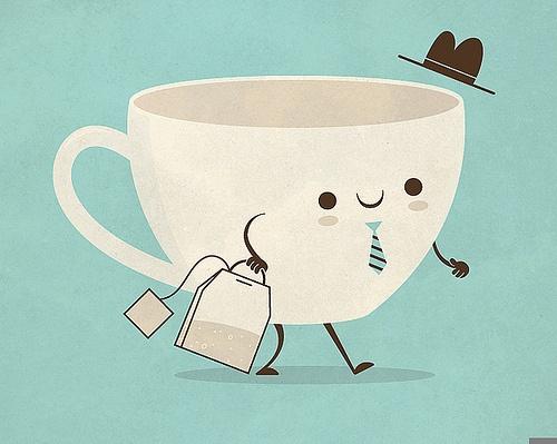 tea man cup on the go.