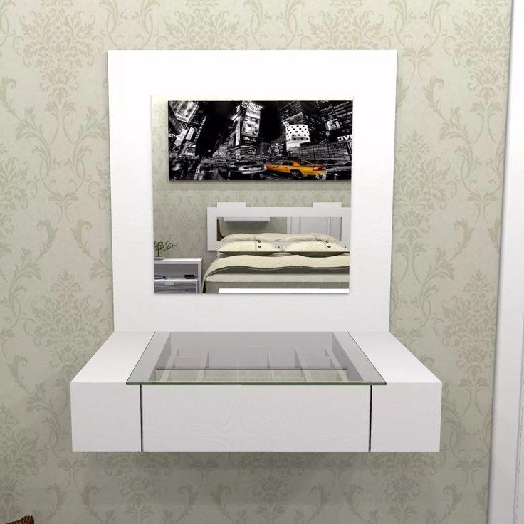 penteadeira branca 1 gaveta suspensa 0,80 x 0,50 com espelho