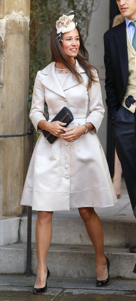 Pippa opted for a cream coat and dress with a coordinating fascinator for the Knightsbridge, London, event....