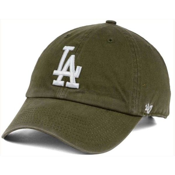 '47 Brand Los Angeles Dodgers Olive White Clean Up Cap ($28) ❤ liked on Polyvore featuring accessories, hats, olive, white ball cap, la dodgers baseball cap, white cap, dodgers hat and dodgers baseball hat