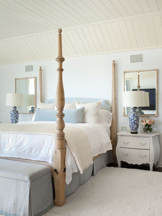 Soft details and dainty furniture set off a feminine vibe in this sunny bedroom. A light wood bed frame, white-painted nightstands, neutral bed linens, and a cushy white rug create a clean and inviting look. Mirrors hung behind the two end tables reflect natural light and bounce it off of the barely-there wall color and neutral accessories. What we love: Take a cue from this bedroom and incorporate subtle details to add contrast and character. Here, two ornate table lamps sit atop the…