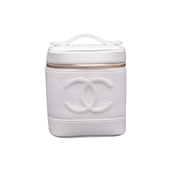 Pre-Owned Chanel Vanity White Caviar Leather Cosmetic Hand Bag (2.829.605 COP) ❤ liked on Polyvore featuring beauty products, beauty accessories, bags & cases, white, dopp bag, dop kit, white cosmetic bag, leather toiletry kit and toiletry kits