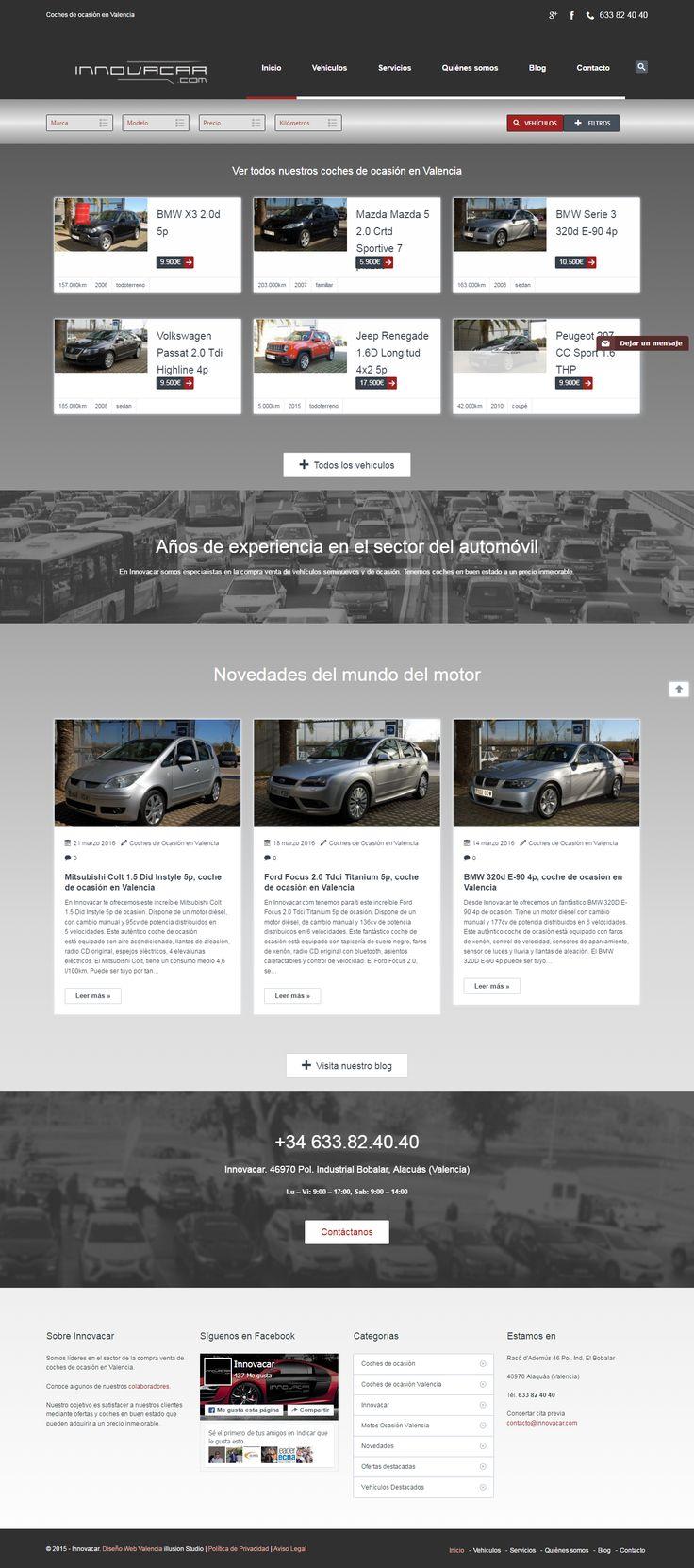 En este nuevo #diseño #web de la página de innovacar encontrarás una sección destacada de ciertos coches de ocasión pero se mantendrán las diversas secciones entre las que encontrarás información sobre su empresa, sus vehículos y un blog con entradas sobre distintos coches y motos.