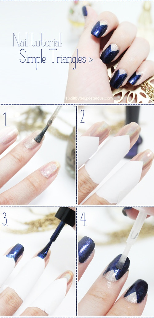 Best 25 triangle nails ideas on pinterest triangle nail art nail art tutorial step by step trendy nail polish in black white by trudy prinsesfo Choice Image