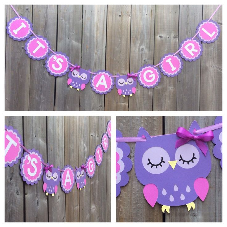 IT'S A GIRL Owl banner, purple owl banner, baby shower decoration, gender reveal, purple shower banner, owl baby shower banner by lilcraftychickadee on Etsy https://www.etsy.com/ca/listing/477476190/its-a-girl-owl-banner-purple-owl-banner