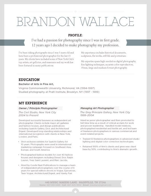 74 best Cv images on Pinterest Creative resume, Resume and Graphics - photography resume