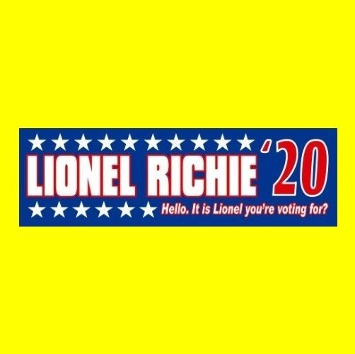 """""""LIONEL RICHIE '20"""" president STICKER The Commodores, Hello, All Night Long 2020"""
