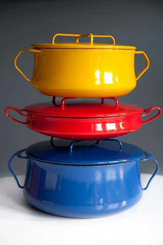 Enamel cookware designed by Jens Quistgaard - Danish Design